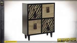 Mini meuble à bijoux en bois clair et noir avec motifs zebrés sur les facades de tiroirs, 26cm