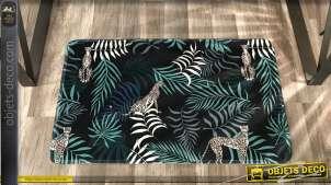 Tapis décoratif sur le thème de la Jungle, couleurs vives sur fond noir, 80cm