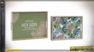 Série de deux plateaux en bois avec motifs de grandes feuilles, esprit tropical, avec anses, 40cm