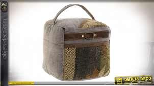 Cale-porte en coton épais, forme de cube et motifs Kilim, bande effet cuir et grande anse, 22x22cm