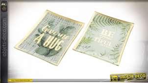 Série de deux vides poches en verre avec motifs de feuilles tropicales et inscriptions modernes, 14cm