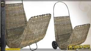 Chariot à bois en poelet gris et métal