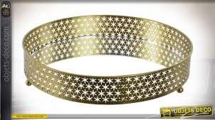 Plateau décoratif avec fond miroir, rebords en métal doré effet moucharabieh, Ø30cm