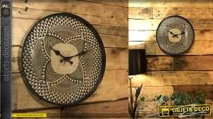Horloge de 35cm de diamètre, style moderne effet toile de jute naturel et noir