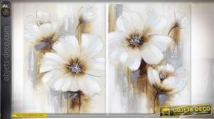 Série de deux tableaux peint, en relief, représentation de fleurs abstraites, 70cm