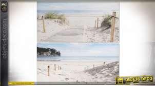 Série de deux toiles bord de mer, photos d'entrées de plages paradisiaques, 80cm