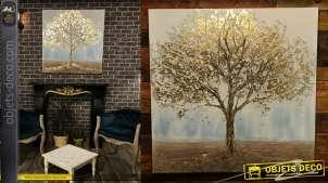 Grand tableau peint à la main représentant un arbre doré avec relief, reflets et ombres brillantes 100x100
