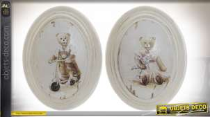 Duo de petits tableaux en bois sur le thèmes des oursons, finitions anciennes, esprit vieilles demeures, 31cm