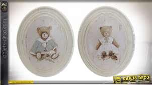 Série de deux cadres ovales en bois, motifs d'ours style vieille demeure esprit romantique, 25cm