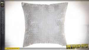 Coussin complet en tissus gris brillant satiné avec reflets mates, esprit moderne 45x45
