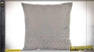Beau coussin en tissus satiné gris, motifs Art Déco finition doré pâle, 45x45