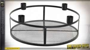 Porte bougies moderne en métal pour chandelles, forme circulaire finition noire mate, Ø28cm