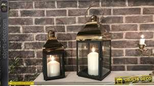 Duo de lanternes décoratives métal laqué noir doré chromé