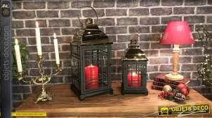 Série de deux lanternes décoratives métal laqué noir doré chromé