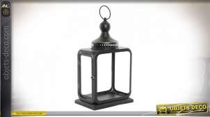 Lanterne noire rétro indus en métal 45 cm