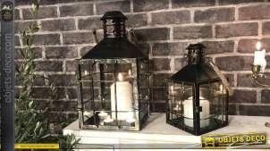Set de 2 lanternes en métal noir et verre de style industriel 46 cm