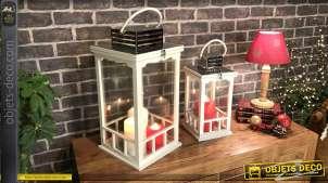 Duo de lanternes blanches style cottage bois laqué blanc métal chromé 51 cm