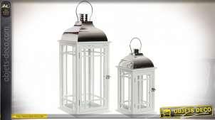 Duo de grandes lanternes blanches en bois et métal chromé 66 cm