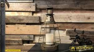 Lanterne en forme d'ancienne lampe à pétrole en métal doré 45 cm