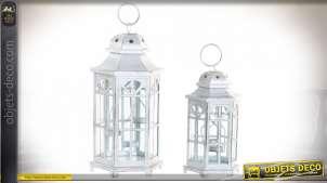 Série de 2 lanternes hexagonales style anglais métal blanc vieilli