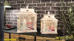 Duo de lanternes blanches rétro en bois blanchi et vieilli motifs feuilles 43 cm