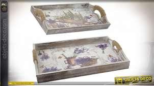 Série de deux plateau en bois avec anses, motifs provençaux avec brins de lavande, 40cm