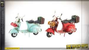 Série de deux motos décoratives en métal, finitions anciennes rouge et turquoise, 11cm