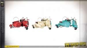 Série de trois side car en métal, reproduction de style ancien, miniatures vintage, 11cm