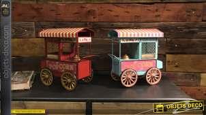 Série de deux miniature en métal, chariot à Pop Corn esprit ancien cinéma, finitions usées, 24cm