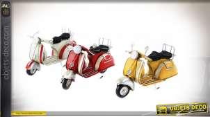 Série de 3 motos miniatures en métal de style rétro vintage, couleurs usées, 17cm