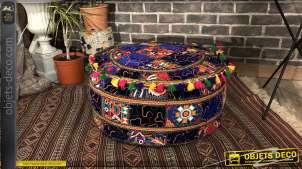 Beau coussin de sol style Patchwork multicolore, 7.5kg avec pompons