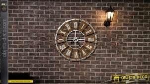 Grande horloge en bois et métal très ajourée, esprit vieille ferme moulin à vent, Ø75cm
