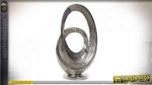 Trophée de décoration en alu de style contemporain, finition nikel effet brossé, forme abstraite, 51cm