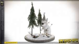 DÉCORATION SAPIN POLYSTYRENE 43X43X53 OURS NATUREL