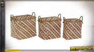 CORBEILLE SET 3 BAMBOU 49X31X46 MARRON