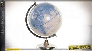 Mappemonde décorative avec base en métal chromé, esprit vintage avec couleurs douces, 43cm