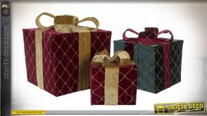 CADEAU SET 3 FLANELLE 25X25X30 BRILLANTS BORDEAUX