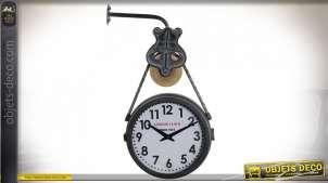 Horloge murale double cadran, esprit ancienne gare finition noir et doré ancien, 55cm