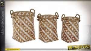 CORBEILLE SET 3 BAMBOU 38X34X46 MARRON