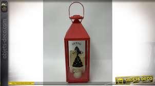 Grande lanterne rouge en métal déco de Noël avec bougie LED 61 cm