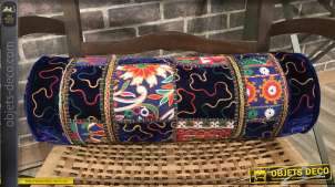 Coussin traversin en coton épais, motifs patchwork en relief avec pompons, 52x15