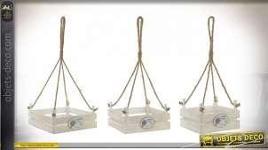 Série de trois plateaux à suspendre pour exposition de plantes, motifs de lavande
