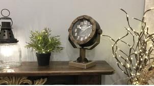 Horloge de table en métal style ancien projecteur de bateau, finition doré ancien et relfets cuivrés