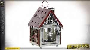 Lanterne de Noël en métal en forme de maisonnette 21 cm