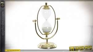 Sablier décoratif en métal doré esprit cabinet de curiosités, finition brillante
