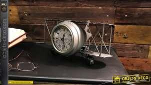 Reproduction d'un avion biplan des années 20 en métal finition zinc avec horloge dans le moteur, décoration de style vintage, 32cm