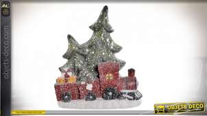 FIGURE LED FIBRE DE VERRE 33,5X10,5X41 ARBRE TRAIN