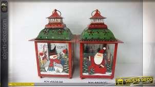 Série de 2 lanternes en métal décorées sur le thème de Noël 35 cm