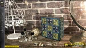 Boite à bijoux en bois peint à la main, bleu impérial et vert antique, 9 tiroirs