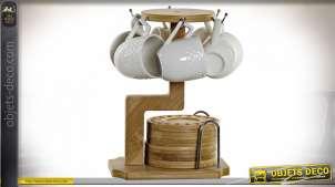 CAFÉ SET 6 PORCELAINE BAMBOU 18X18X22 90ML. BLANC